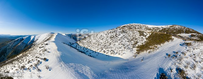 Razorback Hiking Trailhead at Mt. Hotham Victoria Australia, panorama with snow.