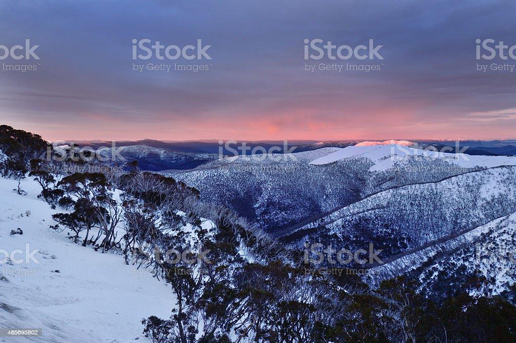 Mt Hotham Ranges Sunrise Australia stock photo