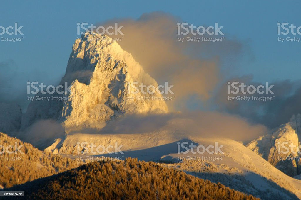Mt. Jackson in Winter stock photo