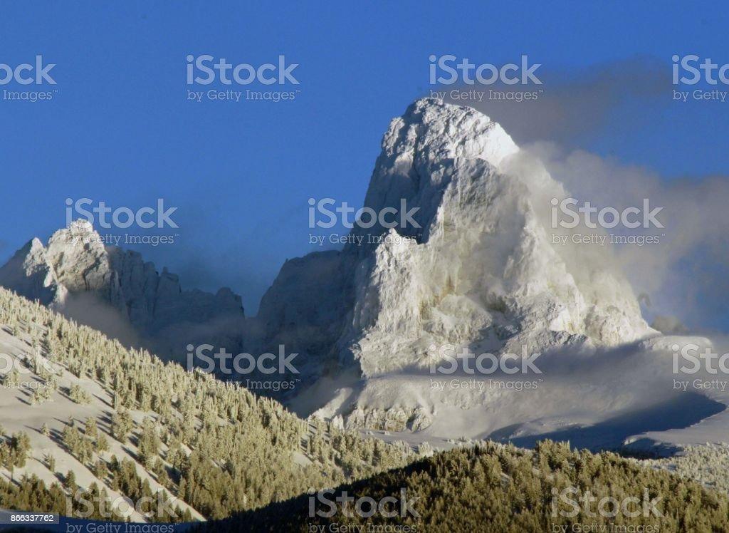 Mt. Jackson Sunset, Grand Tetons National Park, Wyoming stock photo