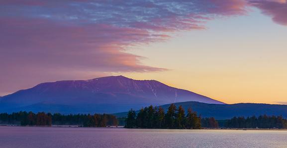 Millinocket Lake with Mt Katahdin in the Background, at Sunrise. Maine