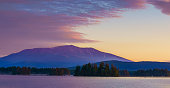 Millinocket Lake with Mt Katahdin in the Background, at Sunrise. Maine