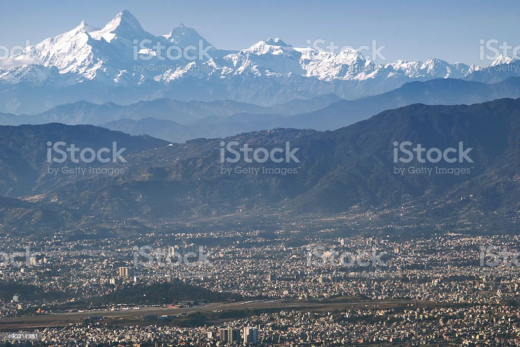 Mt. Manaslu and Kathmandu Valley stock photo