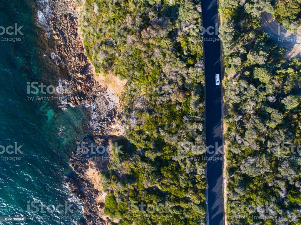 Aerial photograph capturing the Mt Martha coastline road.
