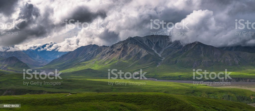 Mt Mather and Herschel Parker in Denali National Park stock photo
