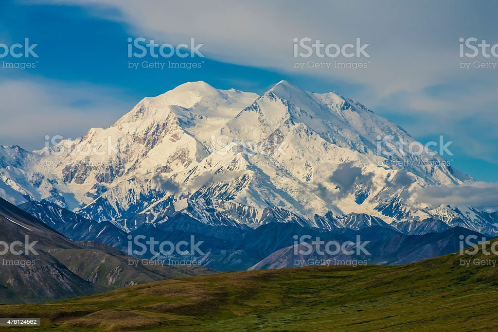 Mt. Mckinley, Denali National Park,Alaska A view of Denali on a clear day. 2015 Stock Photo