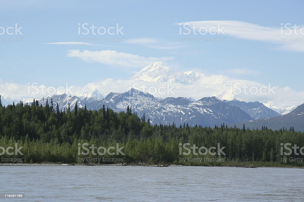 Mt. McKinley on a Sunny Day stock photo
