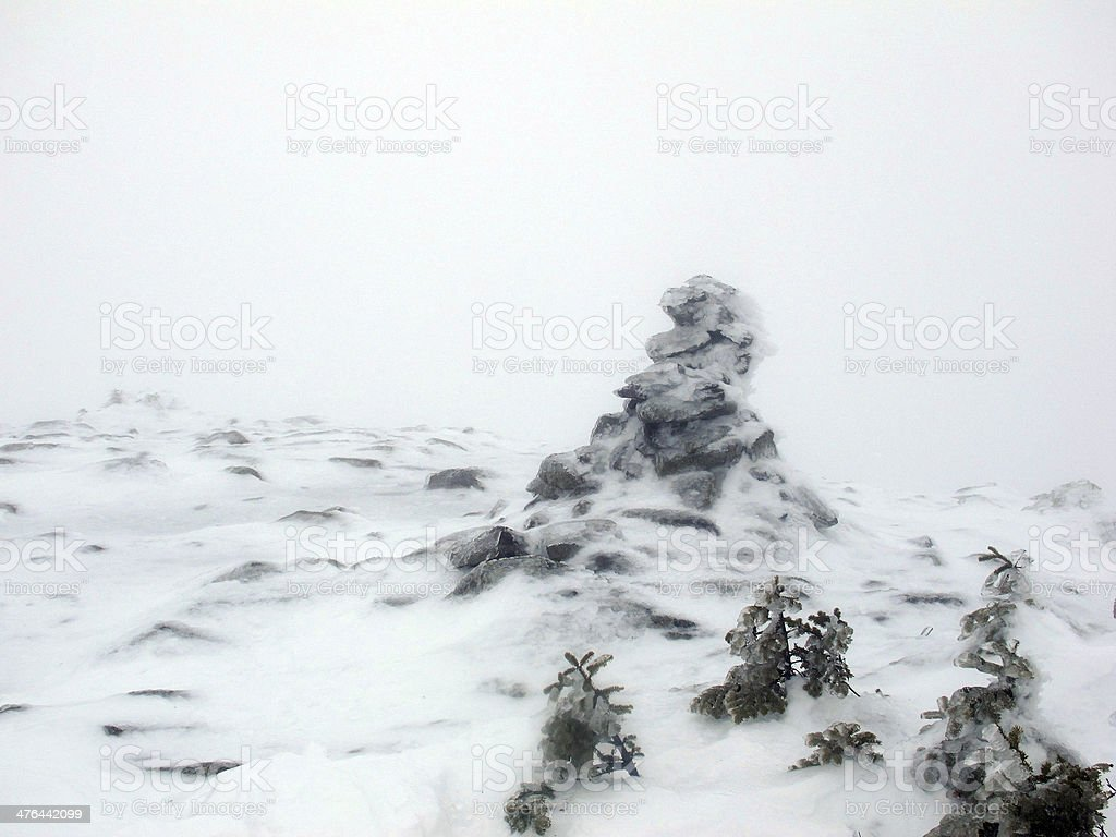 Mt Moosilauke Summit Area in a Whiteout royalty-free stock photo