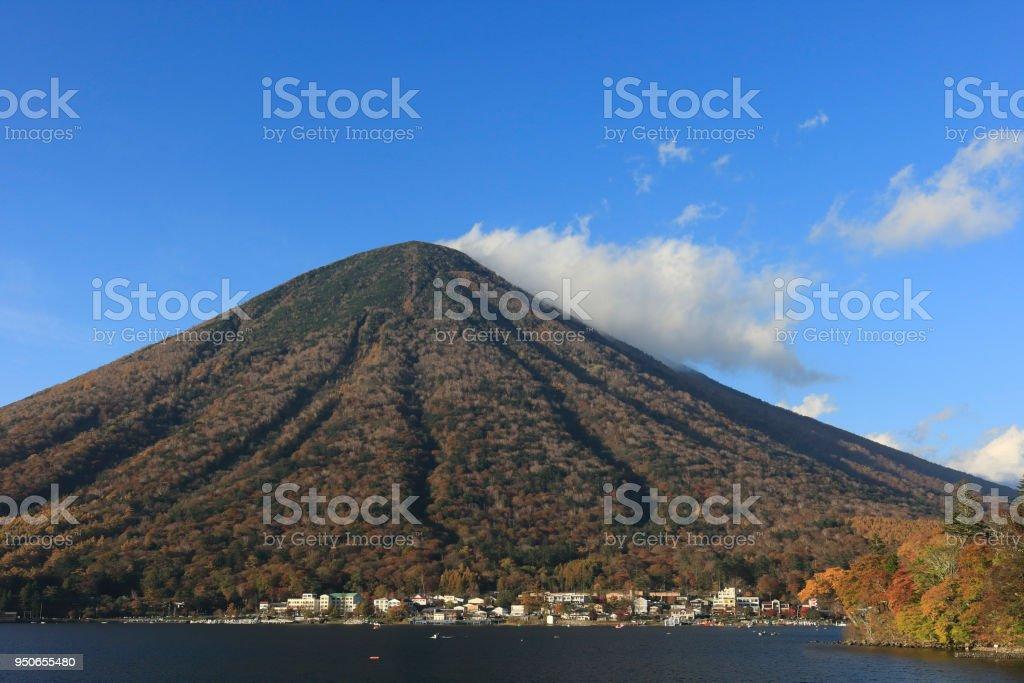 Mt. Nantai of Autumn stock photo