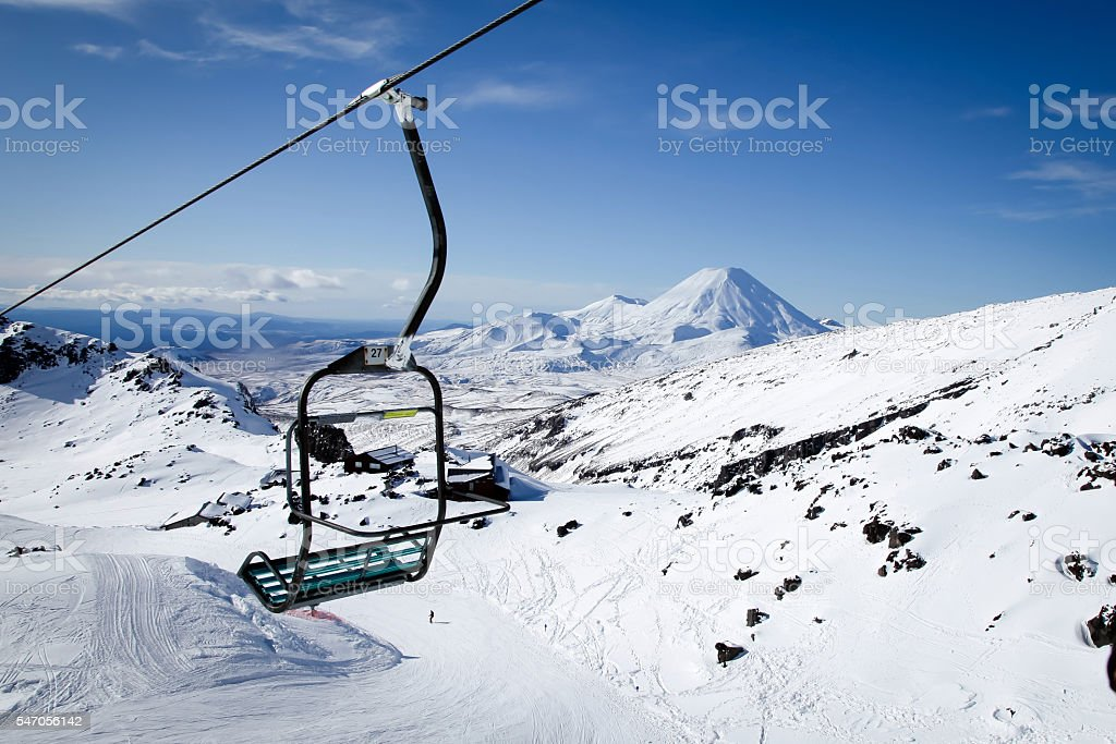 Mt Ngauruhoe from Mt Ruapehu Chair Lift New Zealand stock photo
