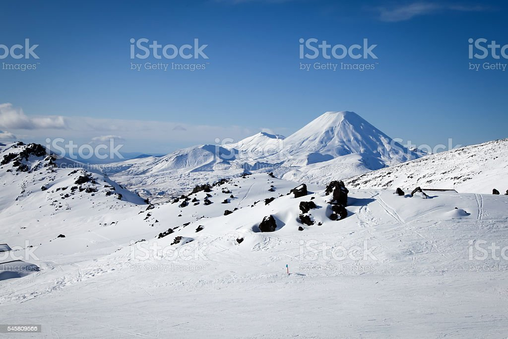 Mt Ngauruhoe from Mt Ruapehu Whakapapa Ski Field New Zealand stock photo