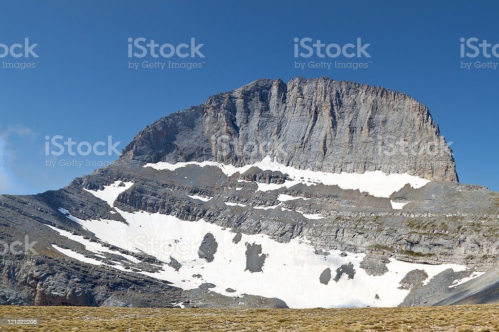 Mt. Olympus in Greece and the throne of Zeus stock photo