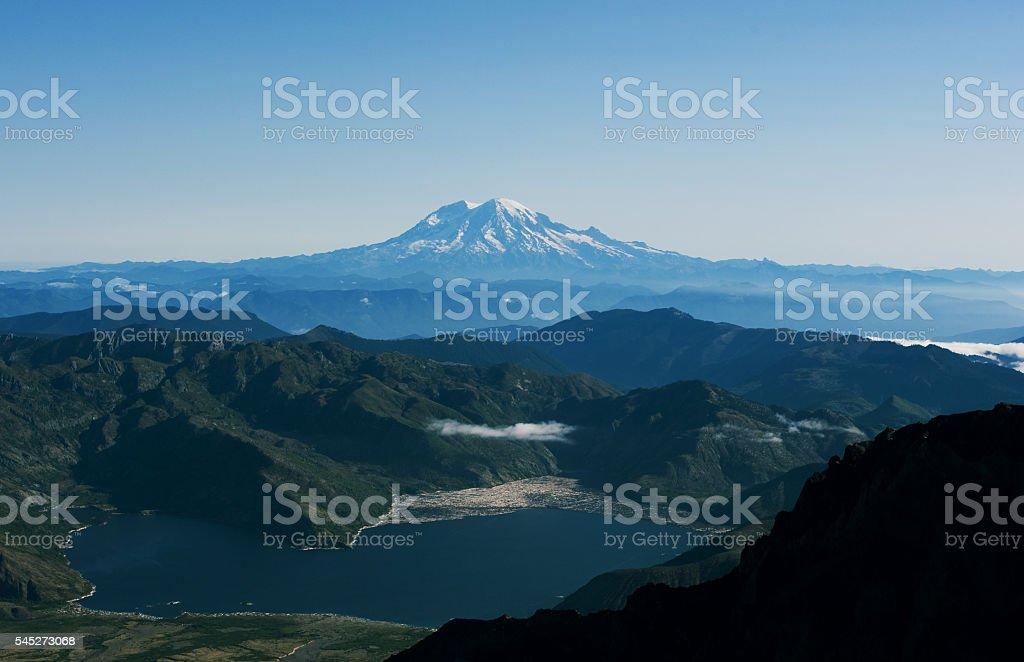 Mt. Rainier from Mount St. Helens stock photo