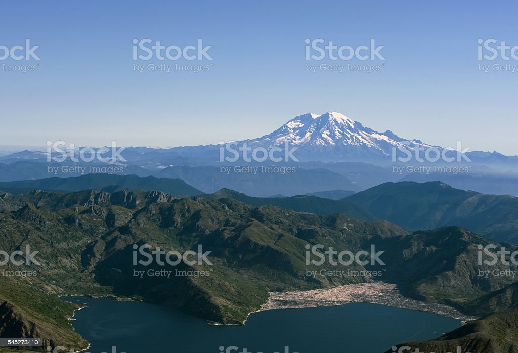 Mt Rainier from Mt S. Helens stock photo