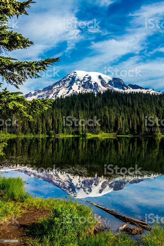 Mt. Rainier from Reflection Lakes stock photo