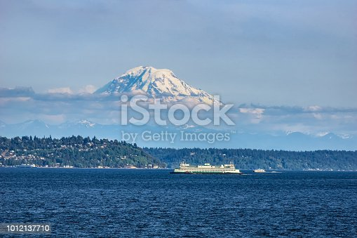 The Puget Sound with Mount Rainier above Seattle in the background, Washington state, USA.