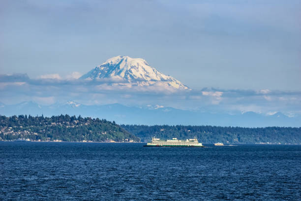 Mt Rainier from the Puget Sound, WA The Puget Sound with Mount Rainier above Seattle in the background, Washington state, USA. mt rainier stock pictures, royalty-free photos & images