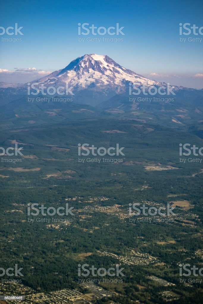 Mt Rainier in the Fall with Suburbs in the foreground royalty-free stock photo