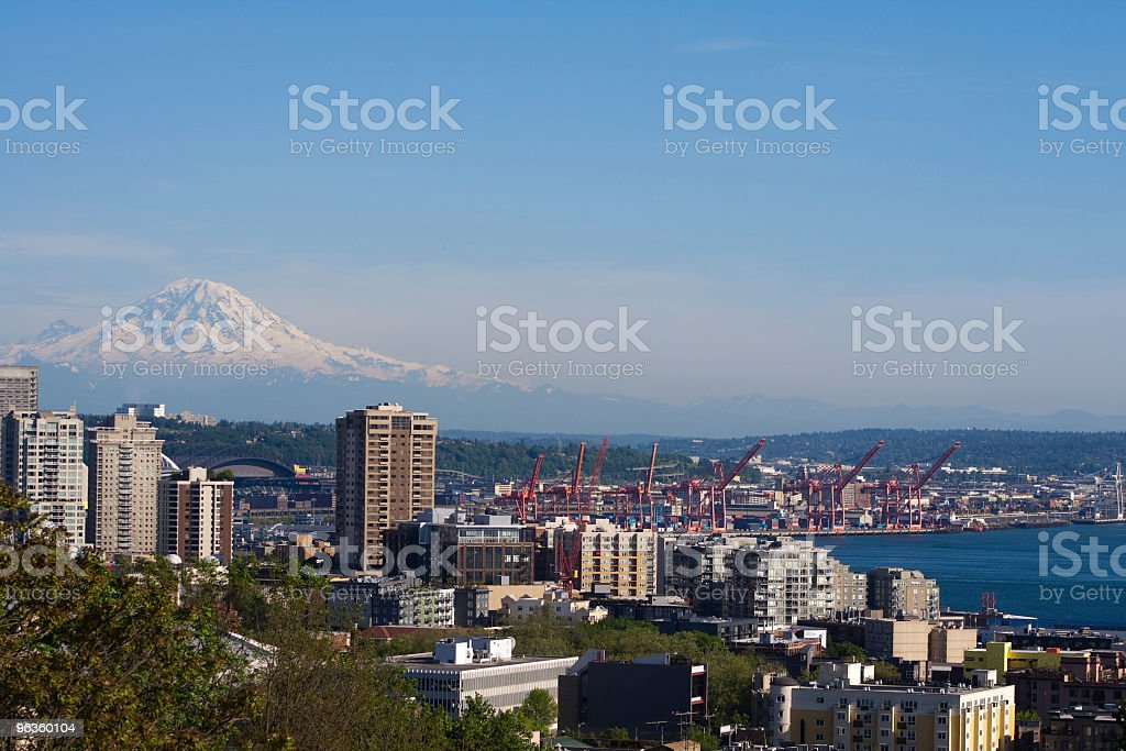 Mt Rainier over port of Seattle stock photo