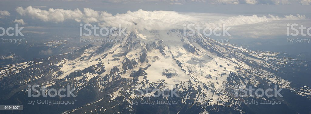 Mt Rainier Panoramic Ariel stock photo