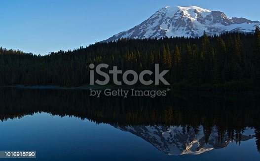 Central Washington's Cascade Range. Mt. Rainier National Park/South. Gifford Pinchot N.F. Edge. Reflection Lake Sunrise.
