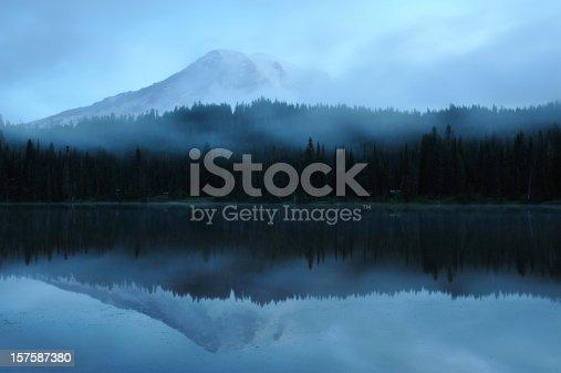 Mt Rainier at twilight with reflection in lake, Washington State, USA