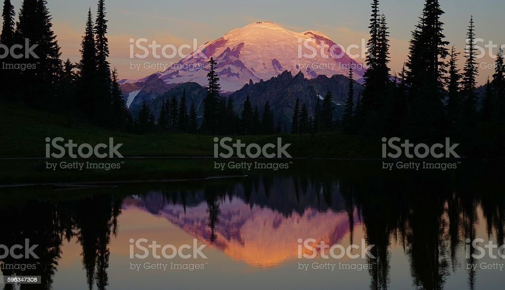 Mt. Rainier Purple stock photo