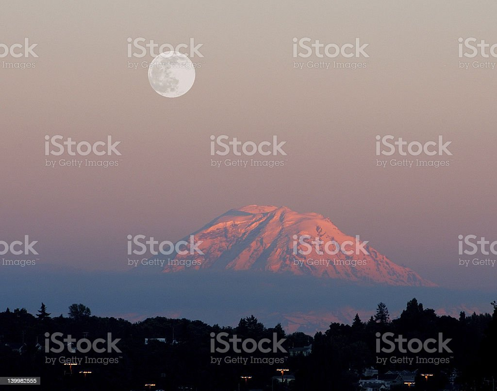 Mt. Rainier Sunset royalty-free stock photo