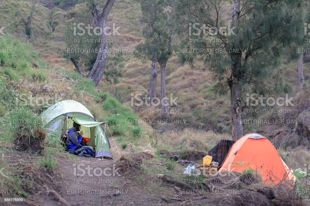 Mt Rinjani stock photo