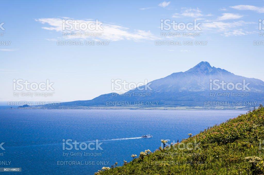 Mt. Rishiri Ferry from Rebun Island, Japan stock photo