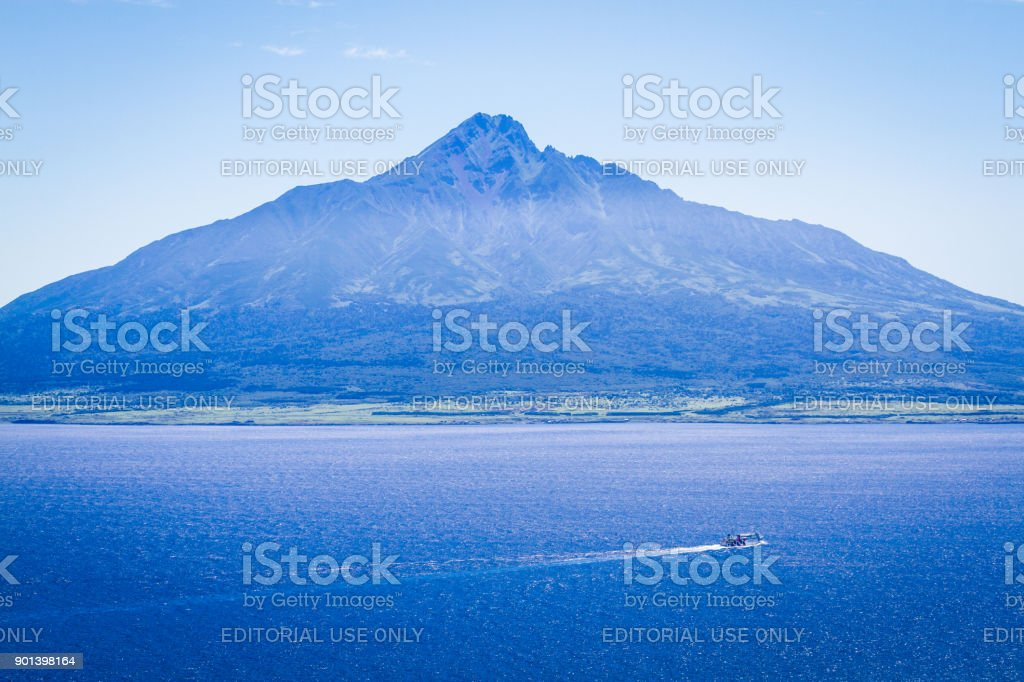 Mt. Rishiri Viewed from the Sea stock photo
