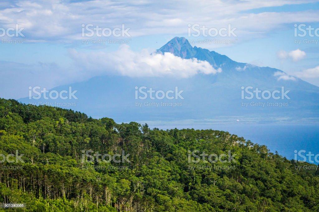 Mt. Rishiri with Clouds from Rebun Island stock photo