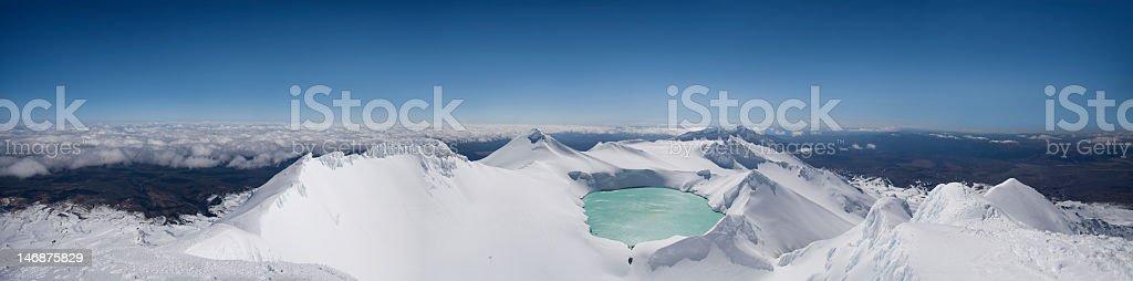 Mt Ruapehu Crater Lake Panorama stock photo