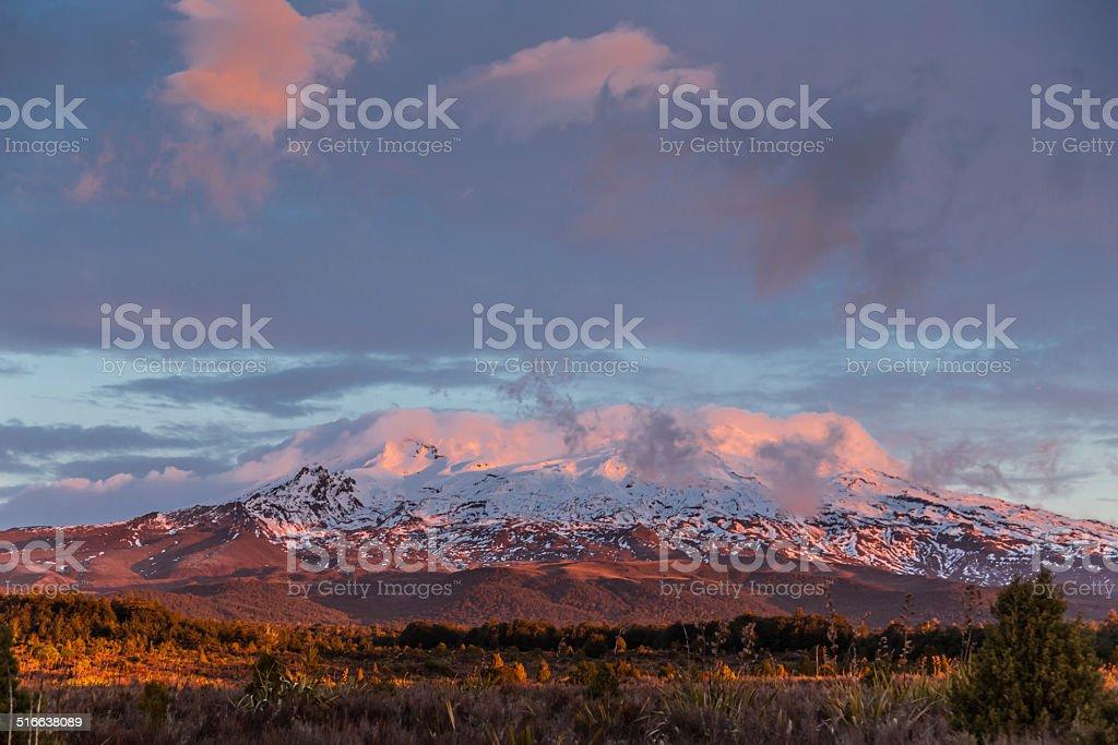 Mt Ruapehu Sunset stock photo
