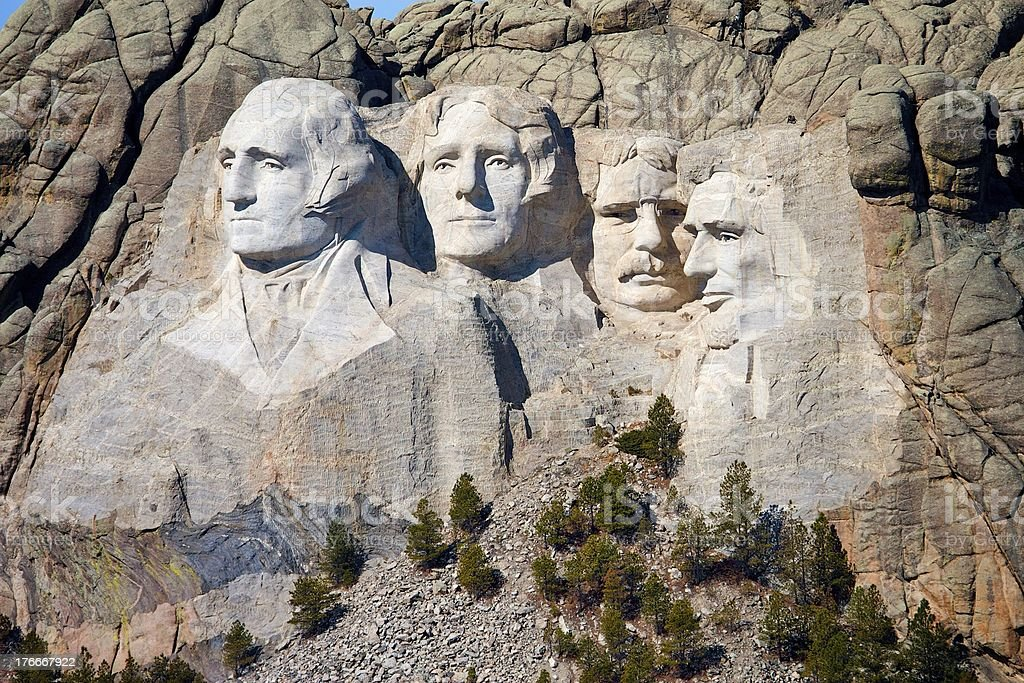 Mt Rushmore Aerial Closeup royalty-free stock photo