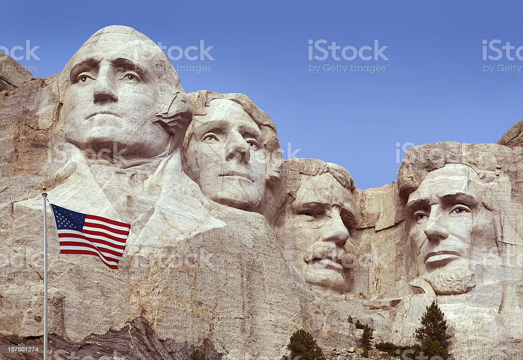 Mt Rushmore Monument, American Flag, Old Glory,  Flying in Foreground stock photo