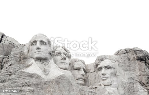 Mount Rushmore National Monument, president bust sculptures carved into a mountain in the Black Hills of South Dakota, USA as a memorial for George Washington, Thomas Jefferson, Theodore Roosevelt, and Abraham Lincoln. Designed to be used for page layout as the bottom frame border, with copy space above.