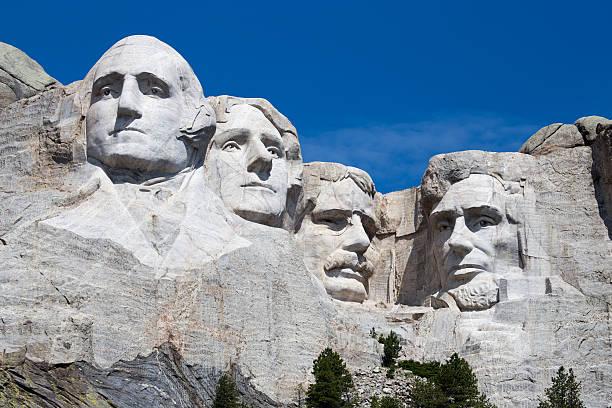 Mt. Rushmore, South Dakota George Washington, Thomas Jefferson, Theodore Roosevelt, Abraham Lincoln, Mt. Rushmore, President, Sculpture, Landmark, South Dakota president stock pictures, royalty-free photos & images