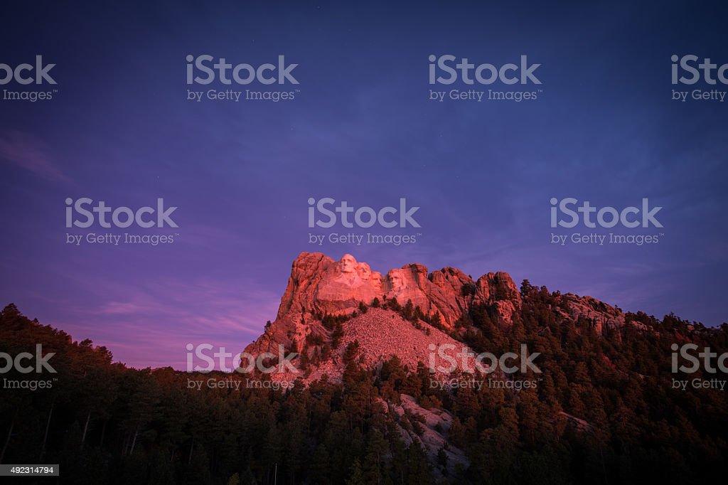 Mt Rushmore Sunrise stock photo