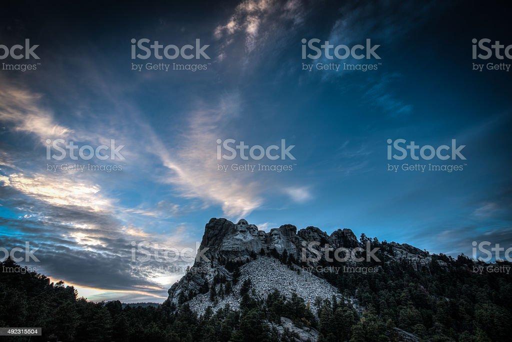 Mt Rushmore Sunset stock photo