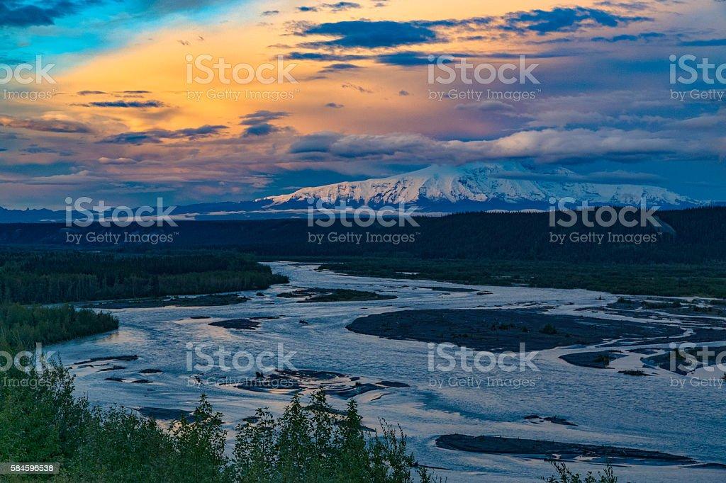 Mt. Sanford at dusk stock photo