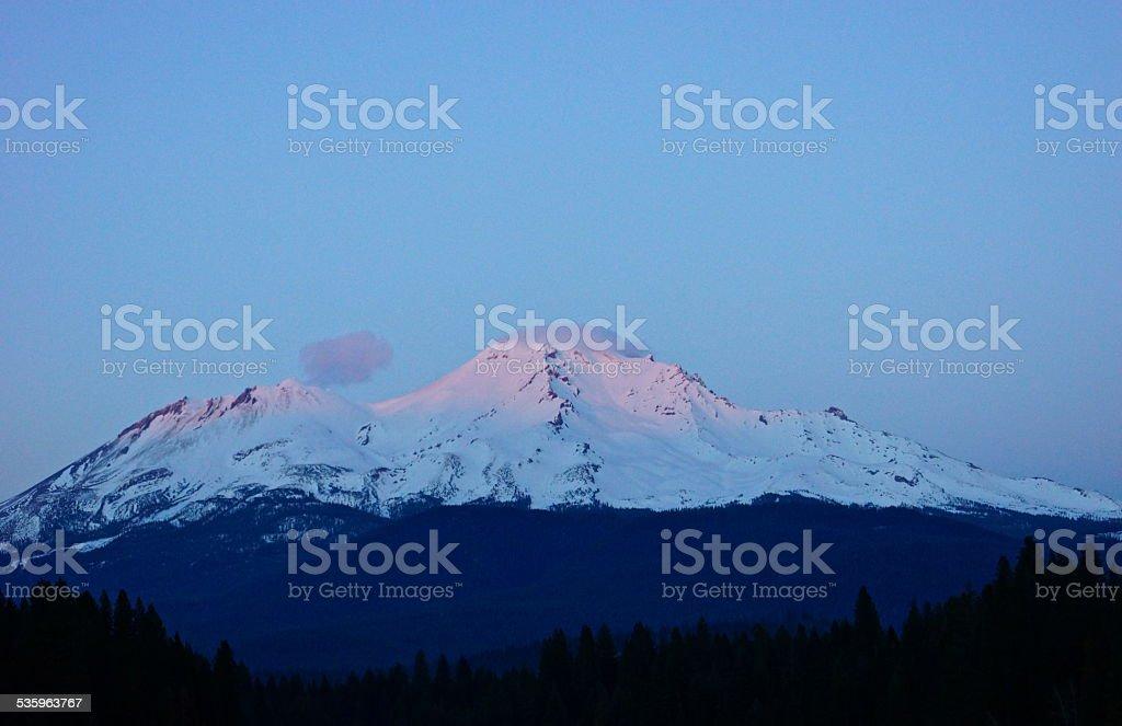 Mt. Shasta Alpenglow stock photo