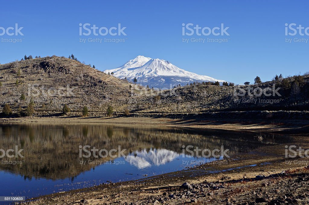 Mt. Shasta Crown Mirror stock photo