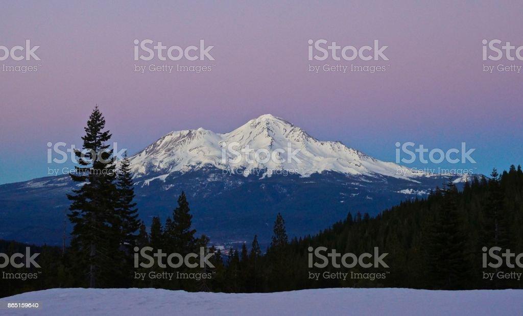 Mt. Shasta Dusk stock photo