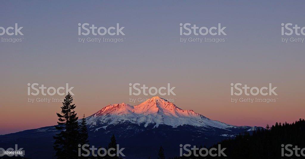 Mt. Shasta Last Light stock photo