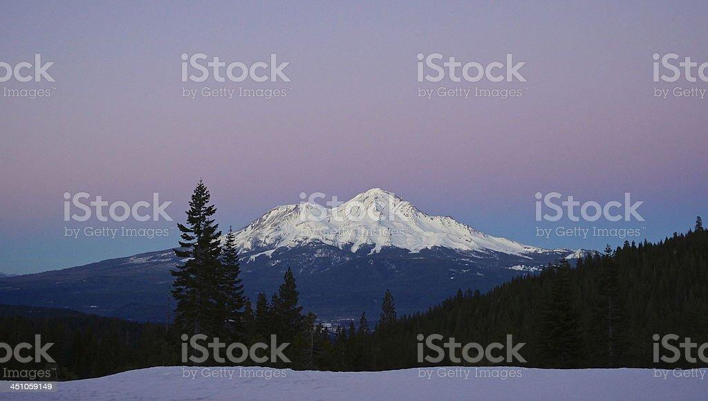 Mt. Shasta Nightfall stock photo