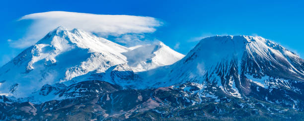 mt. shasta - birton r. gilbert stock photos and pictures