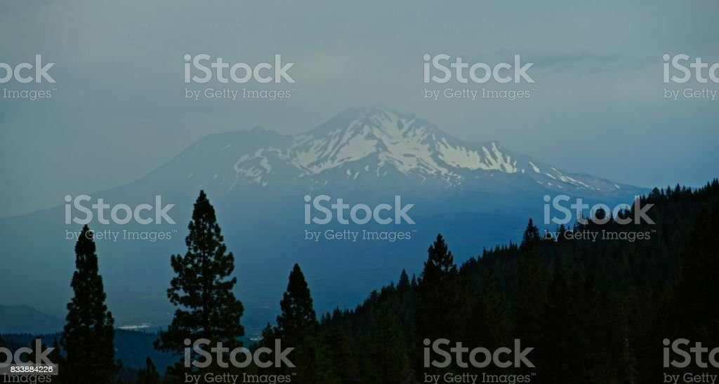 Mt. Shasta Thunderstorm stock photo