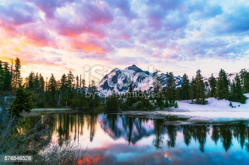 scene of mt. Shucksan with reflection on the lake when sunrise,Washington,usa.