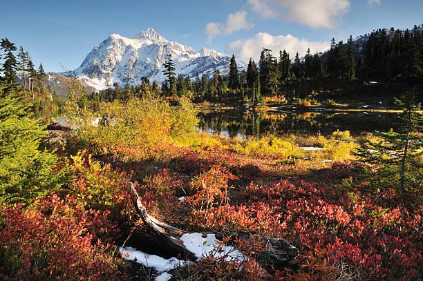Monte Shuksan e Lago Picture no outono - foto de acervo